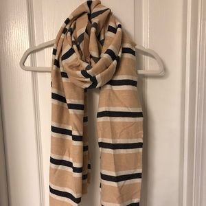 J. Crew Cream and Navy Striped Blanket Scarf